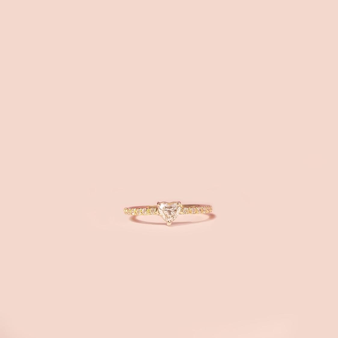 Anel de noivado Coração