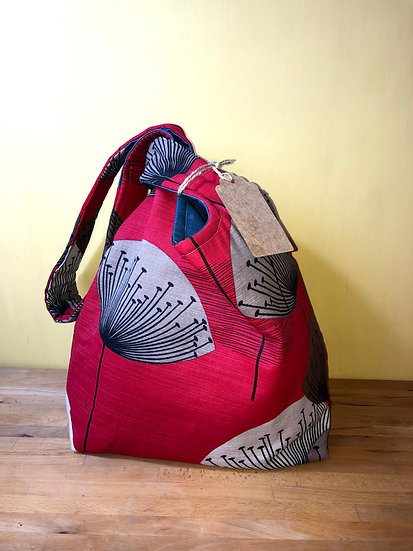 Japanese Knot Bag Dandelions Red