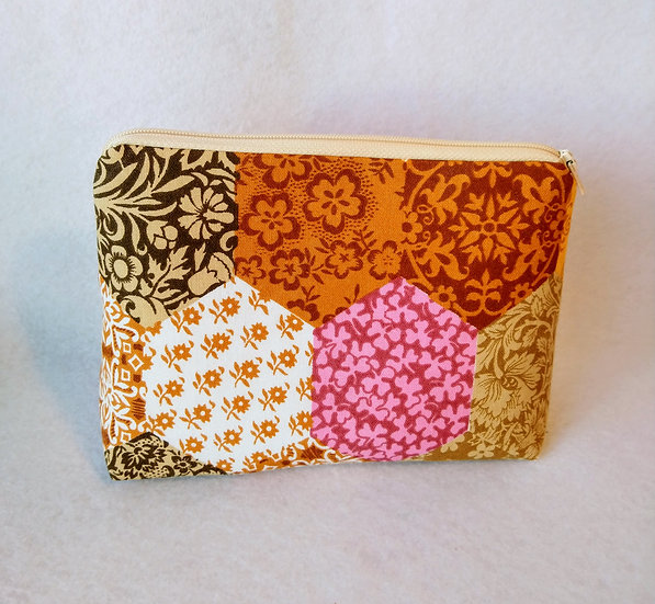 Large Zip Pouch Vintage Fabric Patches