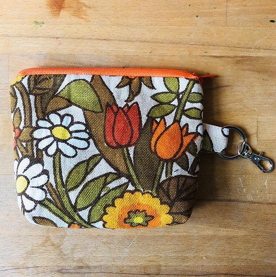 Mini Purse Vintage Fabric Flower Waltz