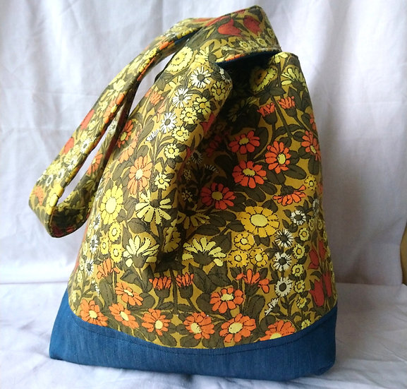 Japanese Knot Bag Vintage Fabric Daisychain Yellow