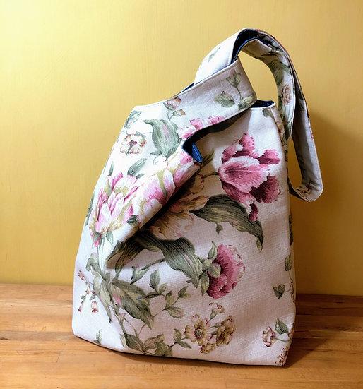 Japanese Knot Bag Vintage Fabric Peonies