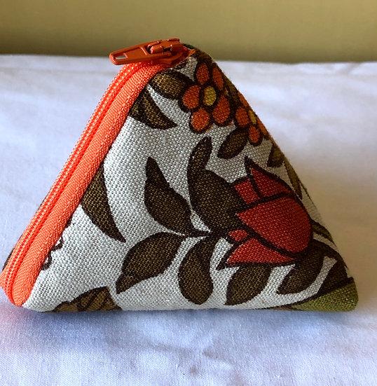 Pocket Pyramid Purse Vintage Fabric Flower Waltz