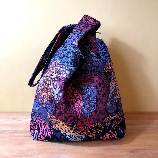 Japanese Knot Bag Vintage 80s Fabric Crackle