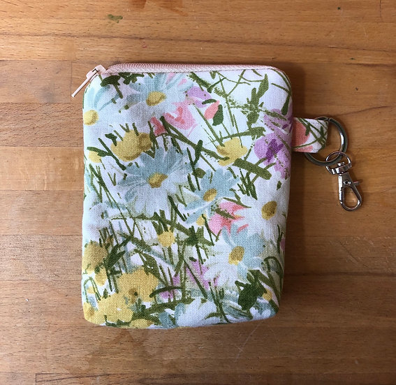 Card and Key Purse Vintage Fabric Sweet Summer