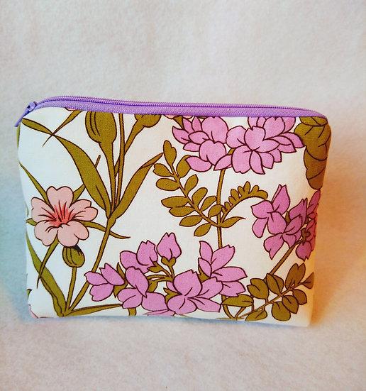 Larger Zip Pouch Vintage Fabric Bunby Floral