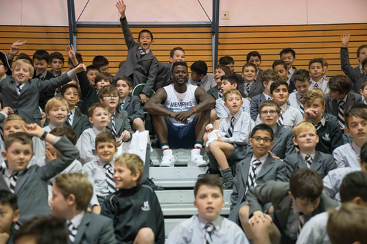 NBA Star James Ennis Visits Up and Coming Students