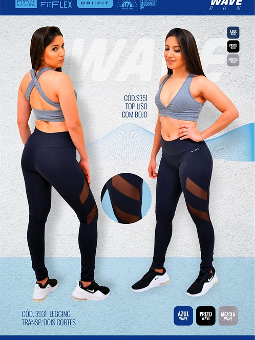 LEGGING WAVE RUN  TULE TRANSPARENCIA DOIS CORTES