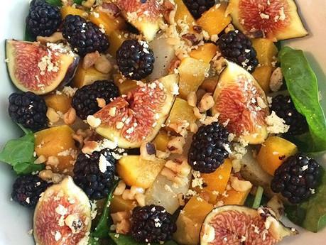 Salade tiède de courge butternut, poires et figues