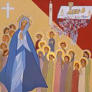 Les disciples attendent la venue de l'Esprit, avec Marie