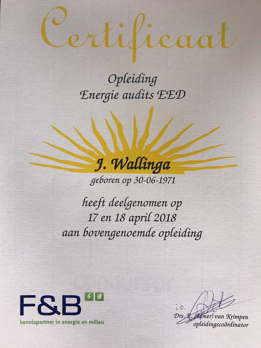 Certificaat Opleiding Energie audits EED