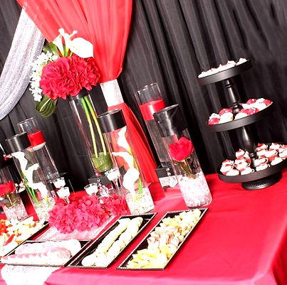 red and black dessert table