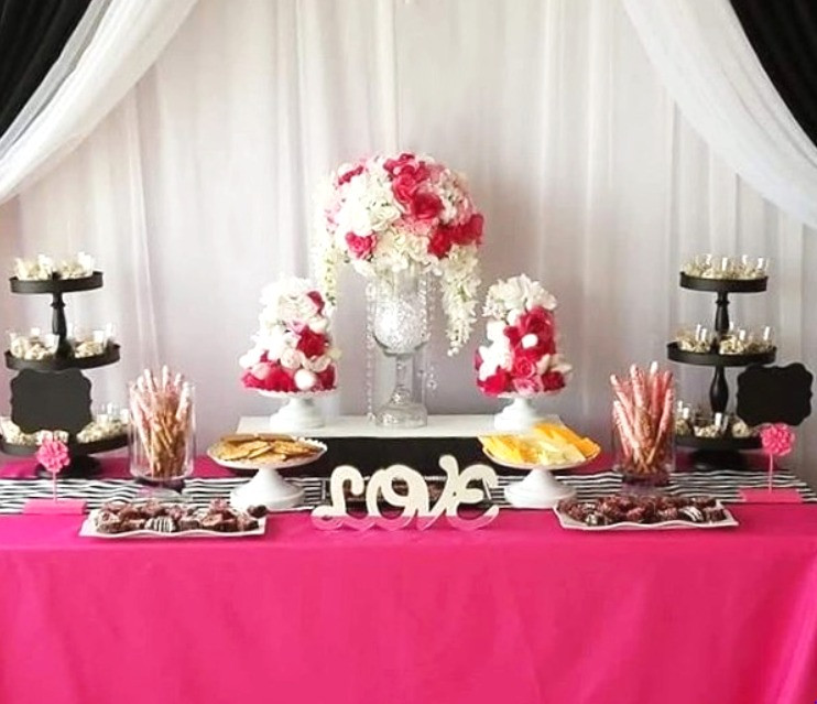 pink and black sweet table