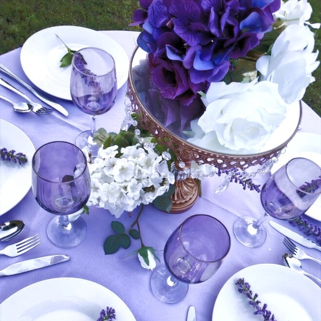 Shades of Purple tablescape