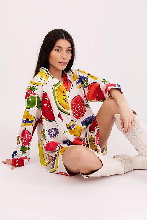 Shirt Dress Viscose Fruits