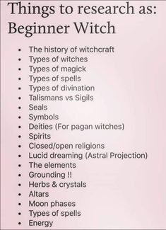 Beginner Witch 101