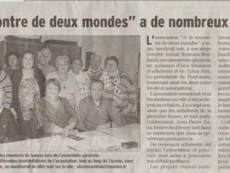 Assemblée Générale: Article du Dauphiné Libéré du 7 mars 2017