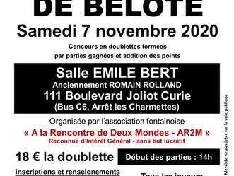 Tournoi de Belote de l'Automne, 7 novembre 2020 - REPORTEE