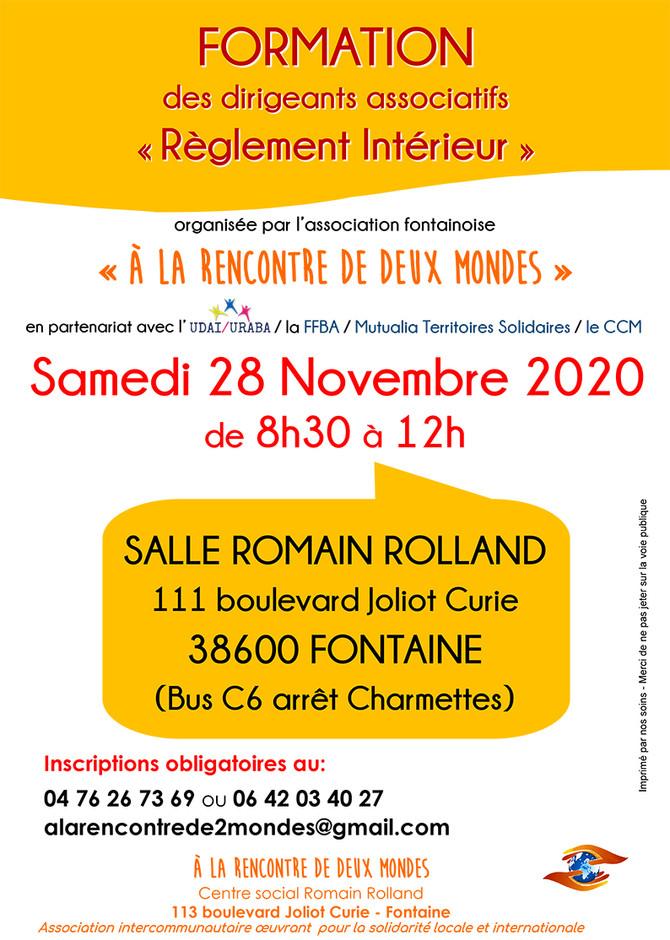 """Formation """"Règlement Intérieur"""", 28 novembre 2020"""