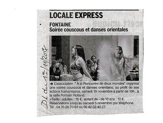 SOIRÉE COUSCOUS - 18 novembre - Salle Romain Rolland- 38600 - Fontaine