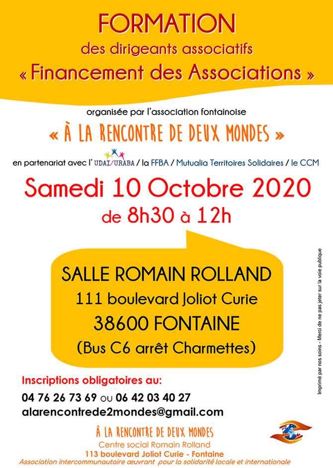 "Formation ""Financement des Associations"", 10 octobre 2020"