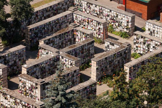 Вид на колумбарий Донского кладбища