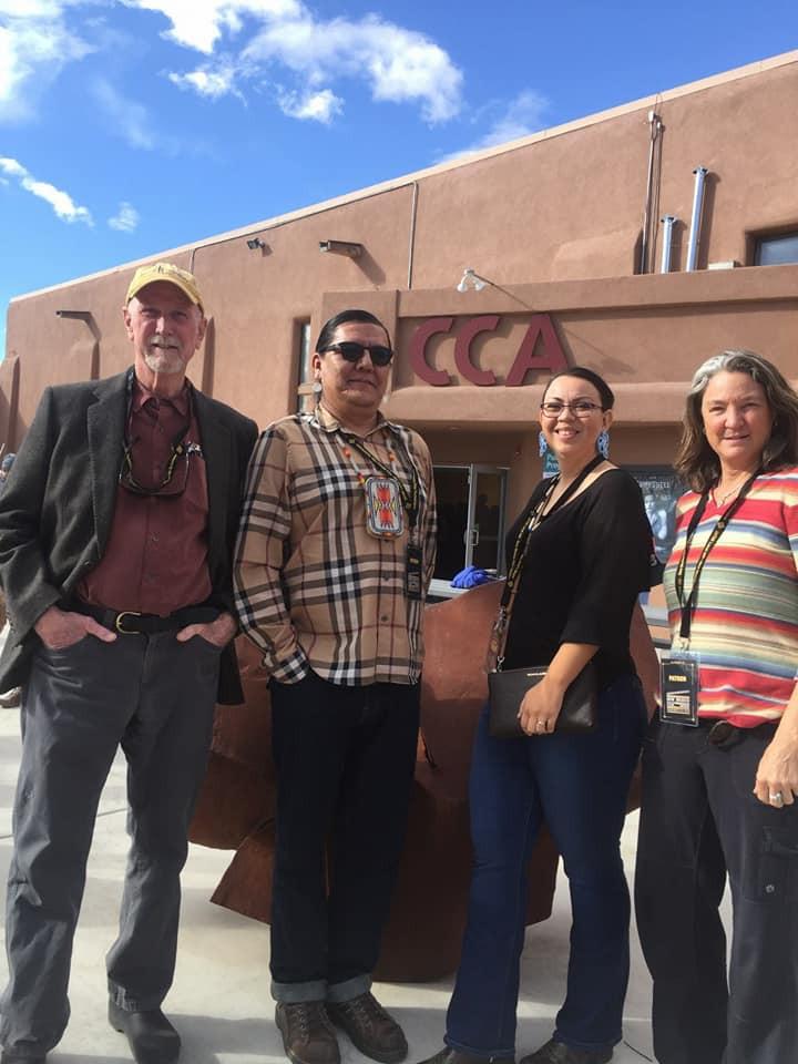 Pictured (L-R) Filmmaker Sean Owen; KSUT Staff, Mike Santistevan, Sheila Nanaeto & Tami Graham