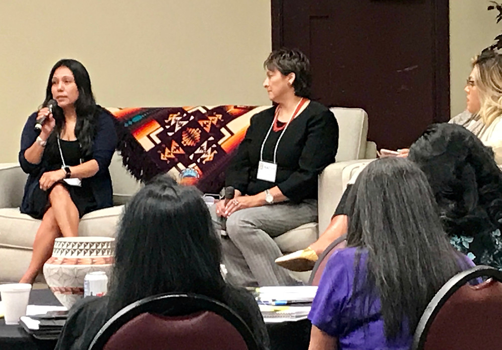 Georgene Louise, Acome, New Mexico House of Representatives; Stephine Poston, Sandia, Poston and Associates Moderator; Anathea Chino, Acoma, Advance Native Political Leadership