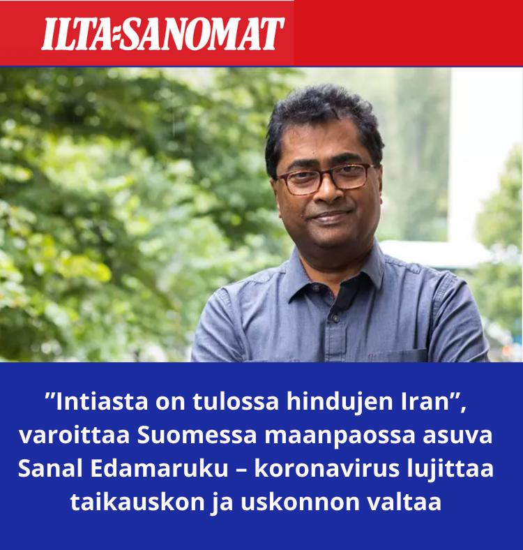 Suomessa omaehtoisessa maanpaossa lähes vuosikymmenen elänyt Sanal Edamaruku on joutunut seuraamaan toiselta puolen maailmaa kotimaansa kehitystä yhä tiukempaan hindunationalistiseen suuntaan.KUVA: LASSI LAPINTIE / LEHTIKUVA