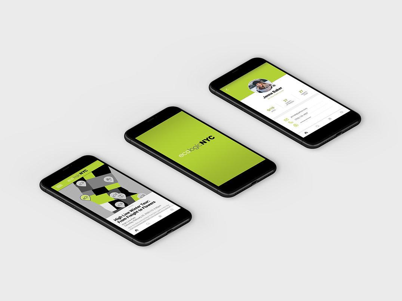 ecologic app mockup-three screens angled