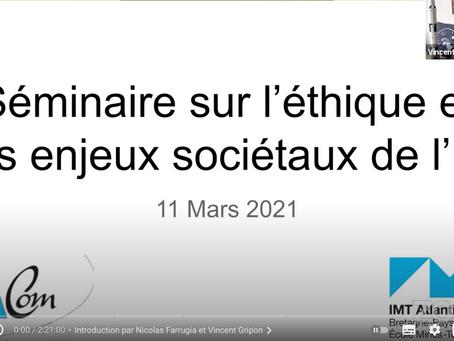 SEMINAIRE: IMT Atlantique - L'éthique et les enjeux sociaux de l'IA