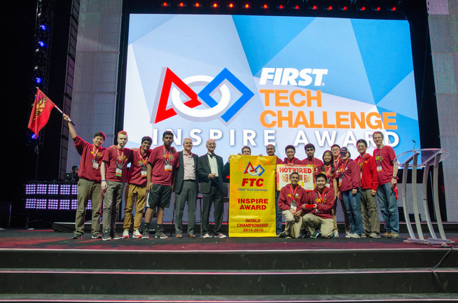 Winning the Inspire Award at the 2016 FTC World Championship