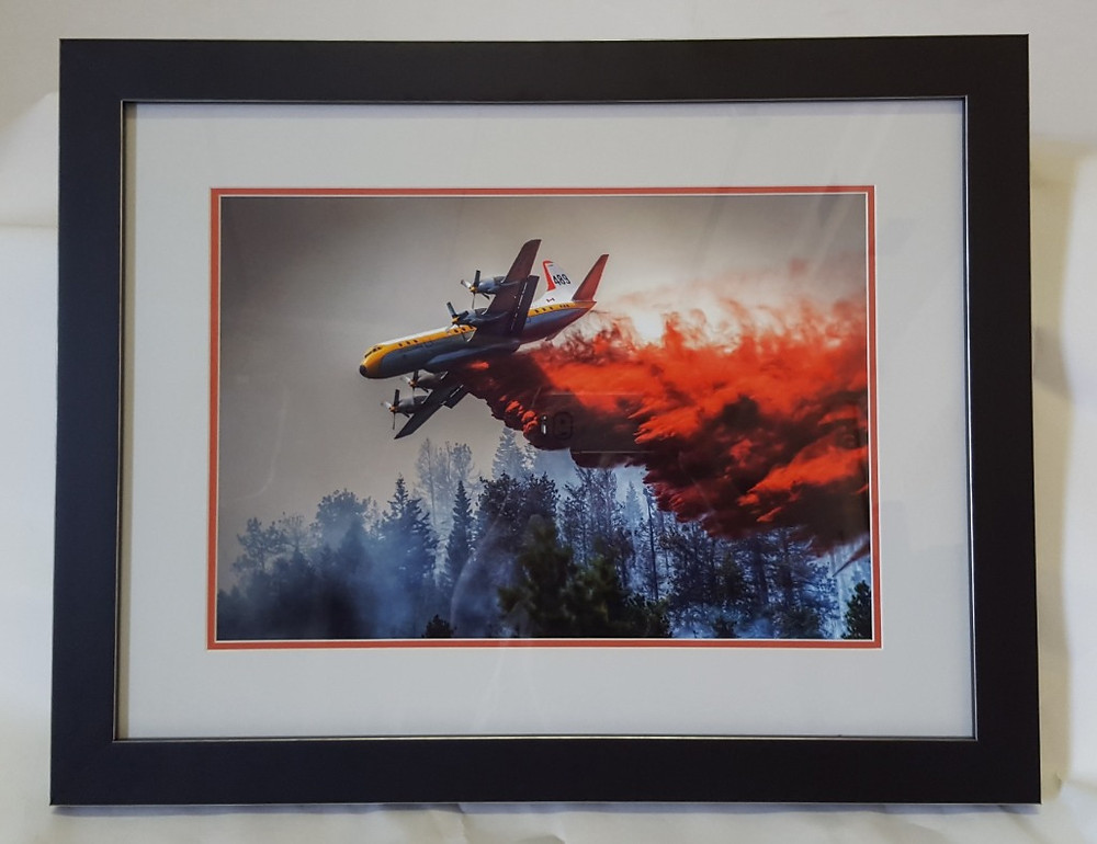 Framed fine art photograph of plane fighting forest fire