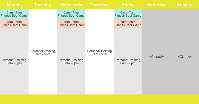Schedule | Reach Fitness Training