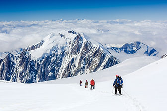 Climbers on the glacier in beautiful mou