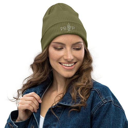 Organic Embroidered Ribbed Beanie