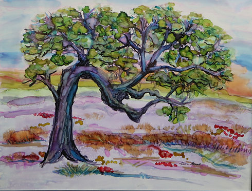 Bent Tree Alcohol Ink Painting