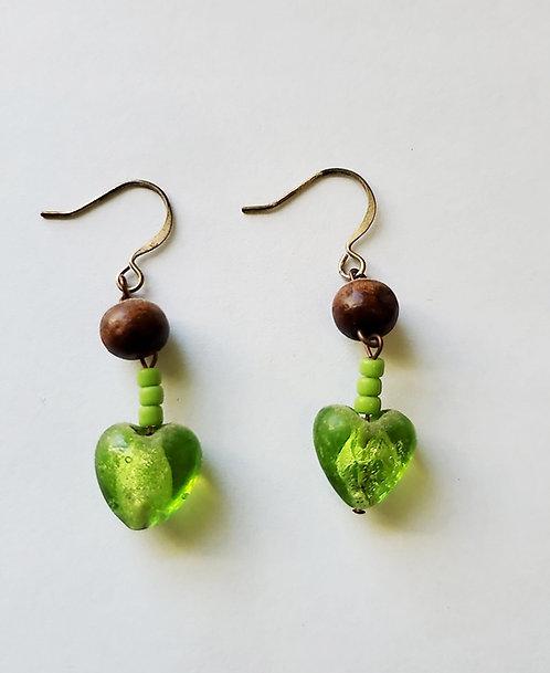 Green Glass Heart Dangle Earrings
