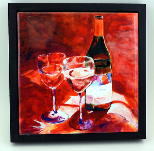 White Wine and Wine Glasses Trivet or Wall Art