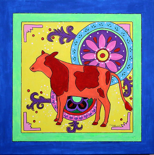 Mexican Folk Art Cow Canvas Print 8 x 8