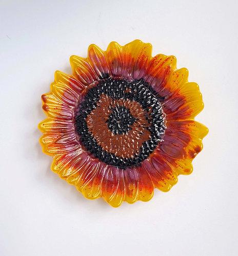Fused Glass Sunflower Dish