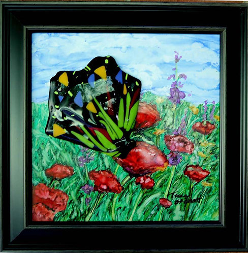 Butterfly and Poppies Painting