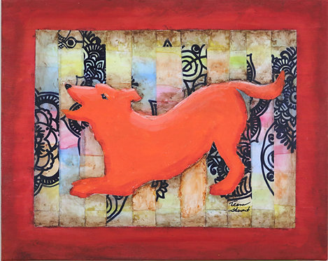 Orange Dog Art Mixed Media Painting