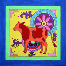 Mexican Folk Art Cow Painting