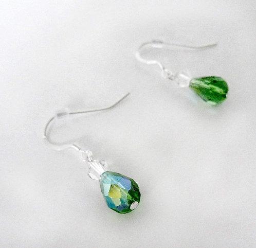 Emerald Green Teardrop Prism Earrings