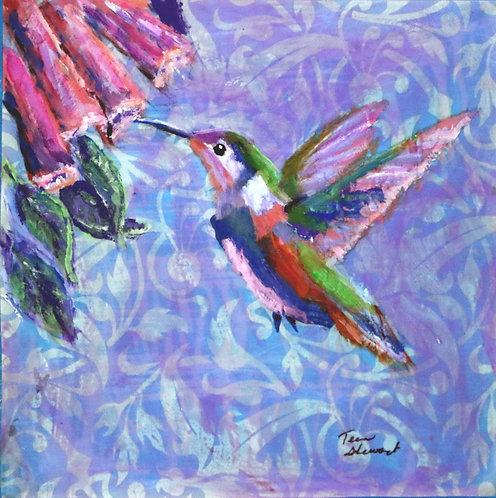 Green-Blue Humming Bird with Purple Background Painting
