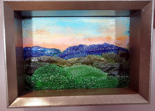 Fused Glass Mountain Landscape in Shadowbox 1