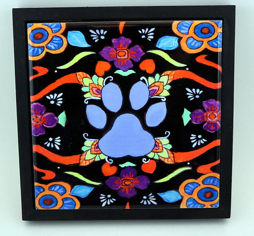 Blue Paw Print Trivet or Wall Art