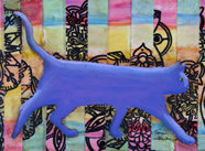 Purple Cat Original Art Mixed Media