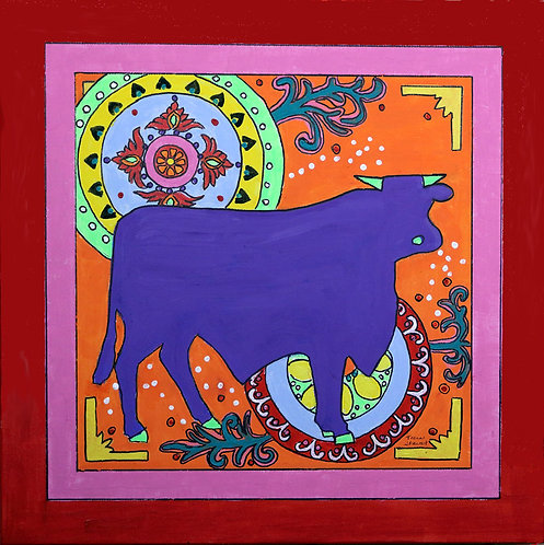 Mexican Folk Art Bull Canvas Print 8 x 8